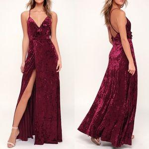 Lulus Burgundy Be Together Velvet Maxi Dress NWT